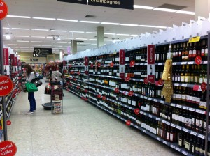 Alcohol aisle in supermarkets