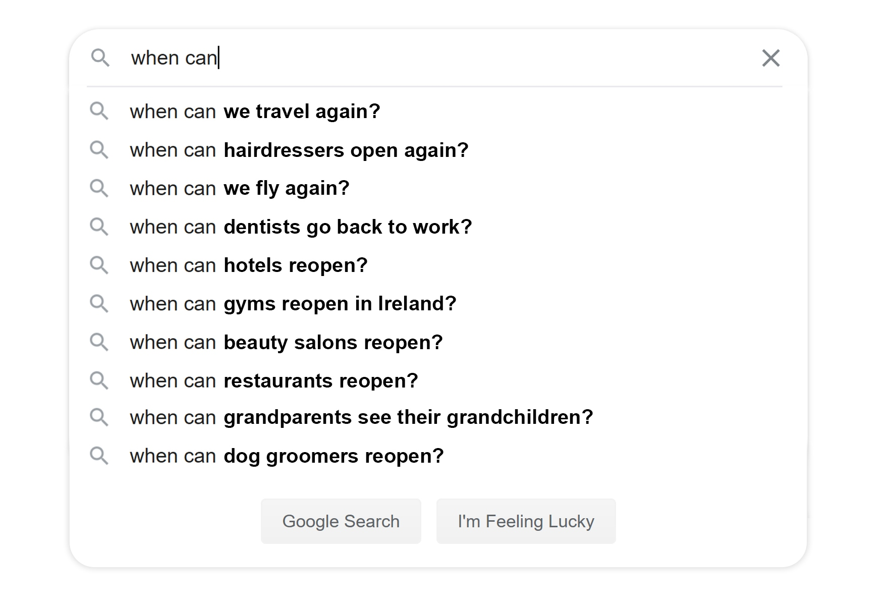 Google search showing when we can