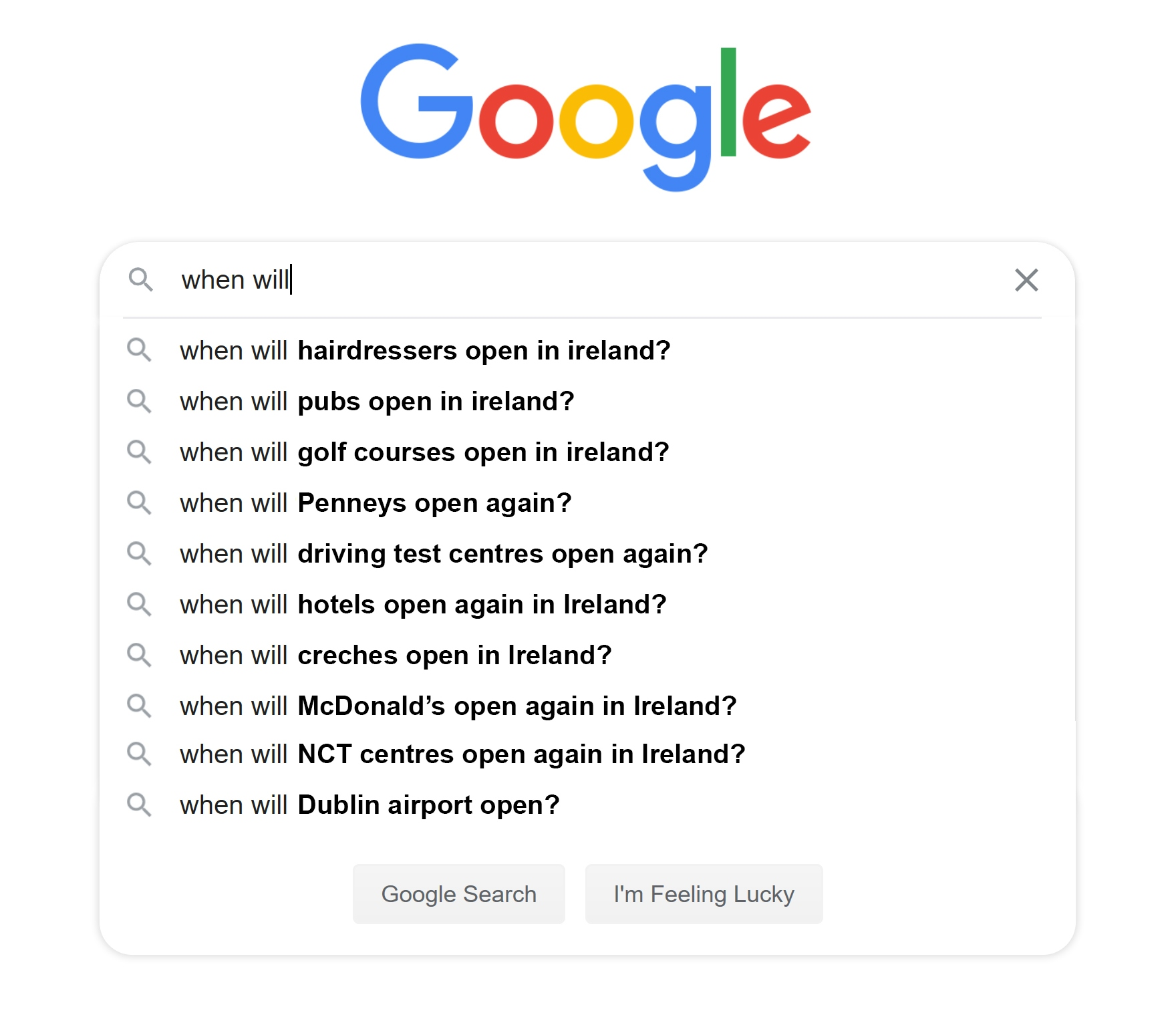 Screenshot of a google search for when different industries will open again in Ireland
